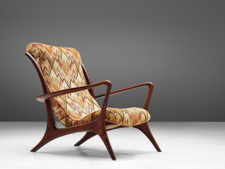 Mid-Century Modern Vladimir Kagan 'Contour' Lounge Chair in Patterned Upholstery For Sale