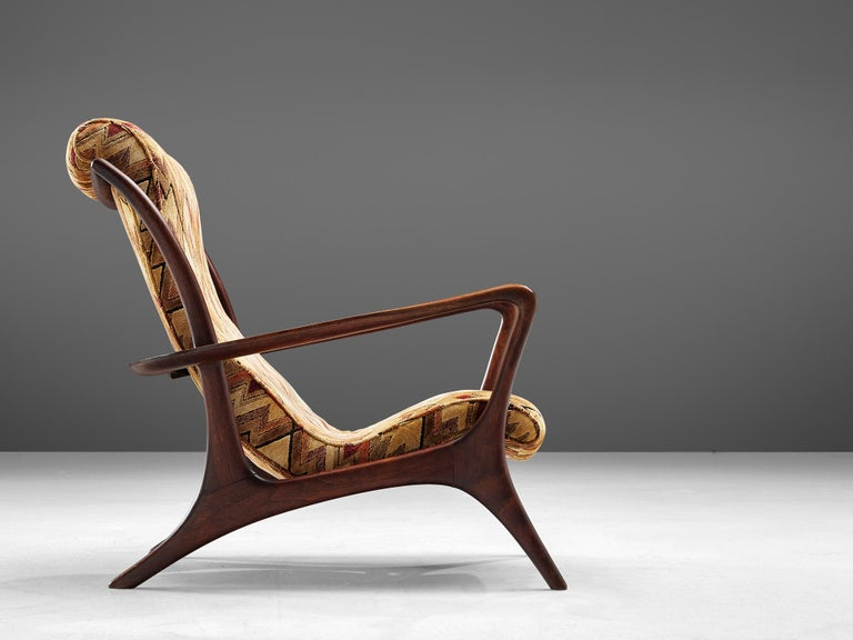American Vladimir Kagan 'Contour' Lounge Chair in Patterned Upholstery For Sale