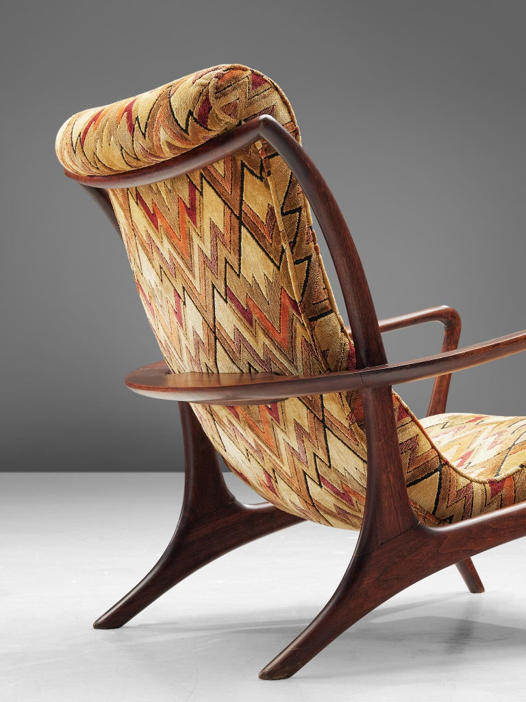 Vladimir Kagan 'Contour' Lounge Chair in Patterned Upholstery In Good Condition For Sale In Waalwijk, NL