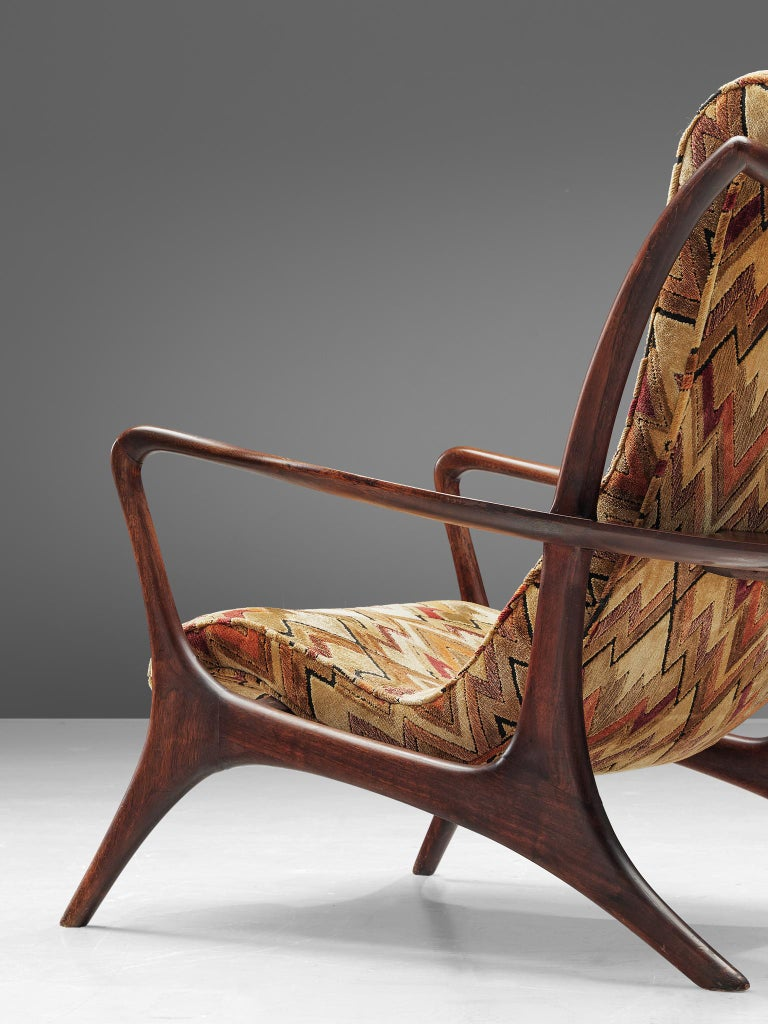 Mid-20th Century Vladimir Kagan 'Contour' Lounge Chair in Patterned Upholstery For Sale