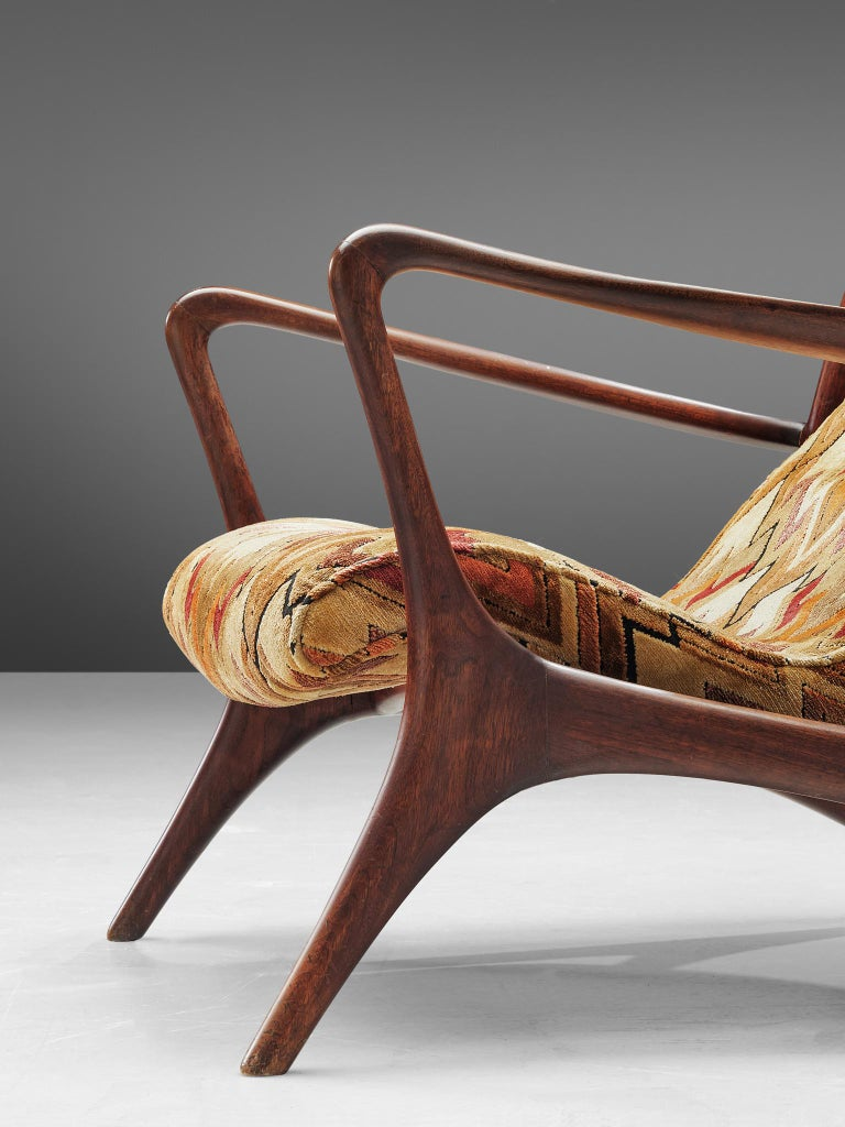 Fabric Vladimir Kagan 'Contour' Lounge Chair in Patterned Upholstery For Sale