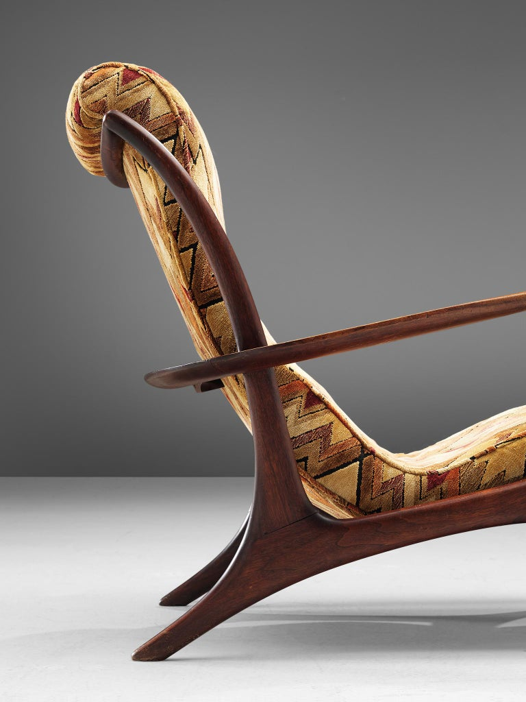 Vladimir Kagan 'Contour' Lounge Chair in Patterned Upholstery For Sale 1