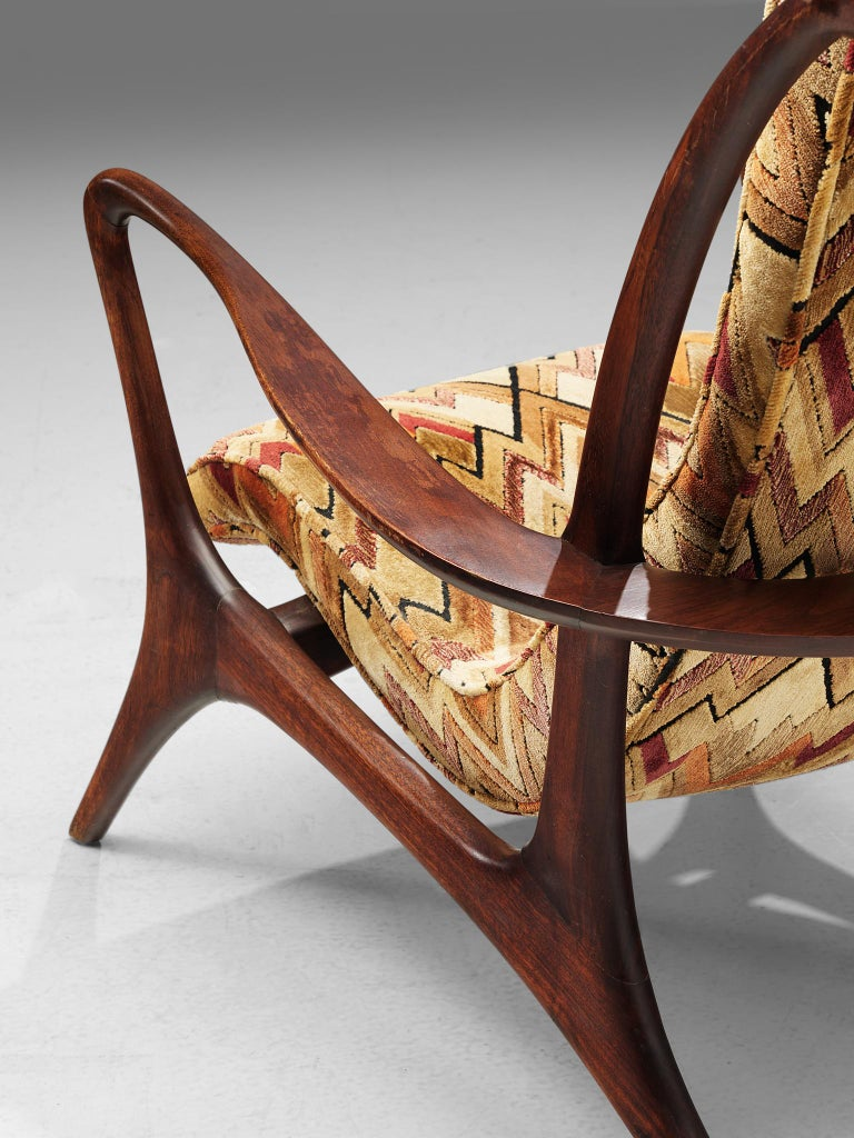 Vladimir Kagan 'Contour' Lounge Chair in Patterned Upholstery For Sale 2