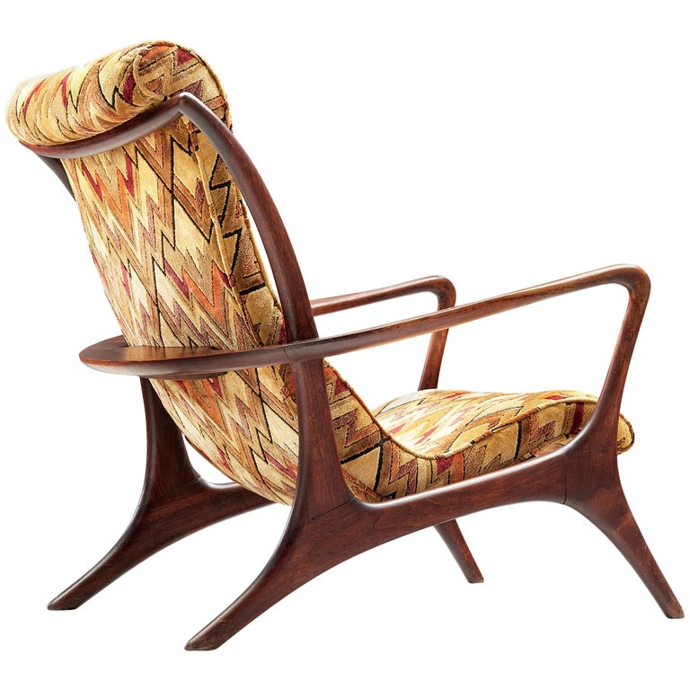 Vladimir Kagan 'Contour' Lounge Chair in Patterned Upholstery For Sale