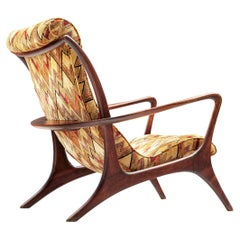 Vladimir Kagan 'Contour' Lounge Chair in Patterned Upholstery