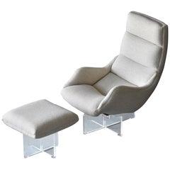 Vladimir Kagan, 'Cosmos' Lounge Chair and Ottoman, Beige Fabric, Lucite, America
