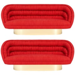 Vladimir Kagan Crescent Sofas on Brass Bases