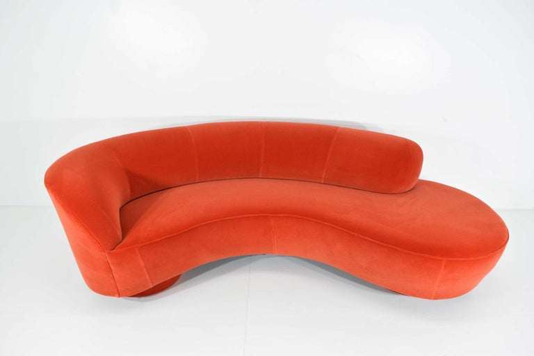 Beautiful sofa by Vladimir Kagan newly upholstered in a rich cotton velvet. For Directional. Double top stitch on seams.