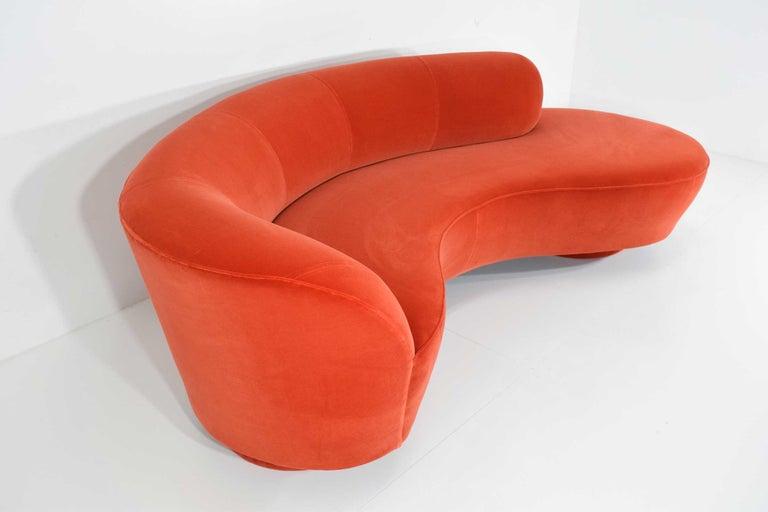 Mid-Century Modern Vladimir Kagan Curved Serpentine Cloud for Sofa in Red/Orange Cotton Velvet For Sale