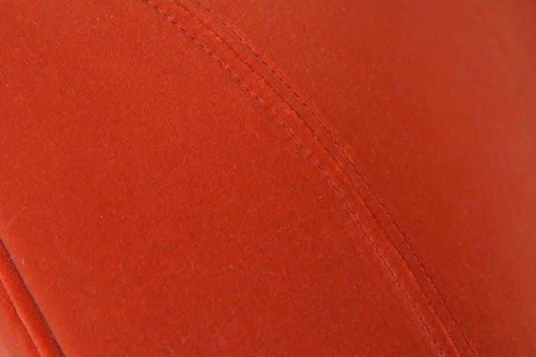 American Vladimir Kagan Curved Serpentine Cloud for Sofa in Red/Orange Cotton Velvet For Sale