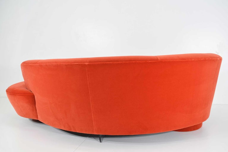 Vladimir Kagan Curved Serpentine Cloud for Sofa in Red/Orange Cotton Velvet In Excellent Condition For Sale In Dallas, TX