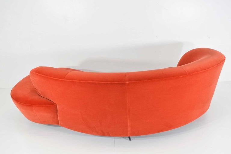 20th Century Vladimir Kagan Curved Serpentine Cloud for Sofa in Red/Orange Cotton Velvet For Sale