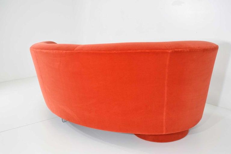 Upholstery Vladimir Kagan Curved Serpentine Cloud for Sofa in Red/Orange Cotton Velvet For Sale