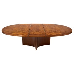 Vladimir Kagan Dimond Base Oval Burl Wood Top Dining Conference Table