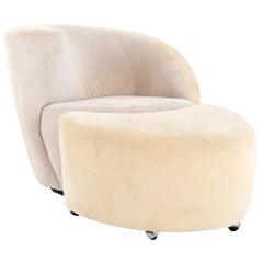 Vladimir Kagan/Directional MCM Nautilus White Suede Leather Lounge Chair/Ottoman