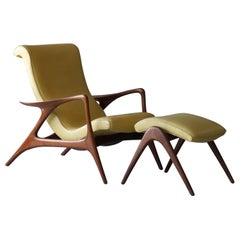 Vladimir Kagan, Early Contour Lounge Chair, Walnut, Yellow Leather, Studio, 1953