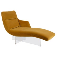 """Vladimir Kagan """"Erica"""" Chaise in Yellow with Lucite Base"""