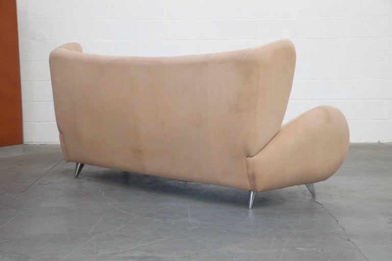 Ultrasuede Vladimir Kagan for American Leather 'Fiftyish' Wingback Sofa, Signed For Sale