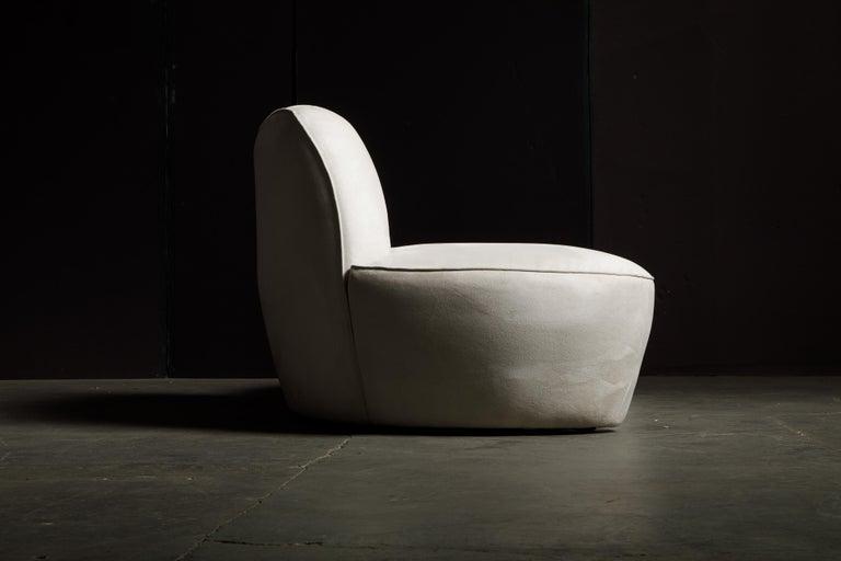 Vladimir Kagan for American Leather 'Zoe' Sofa in White Alcantara, Signed For Sale 5