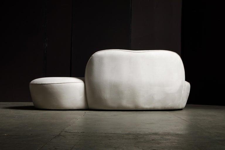 Vladimir Kagan for American Leather 'Zoe' Sofa in White Alcantara, Signed For Sale 6