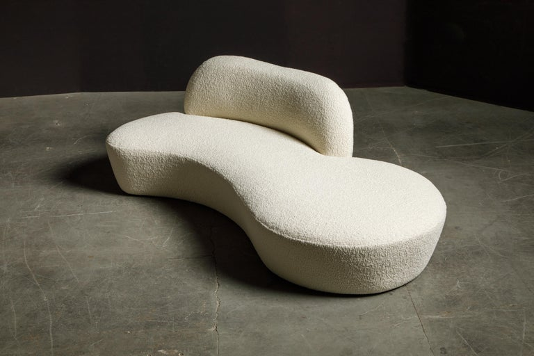 Contemporary Vladimir Kagan for American Leather 'Zoe' Sofa Reupholstered in Bouclé, Signed