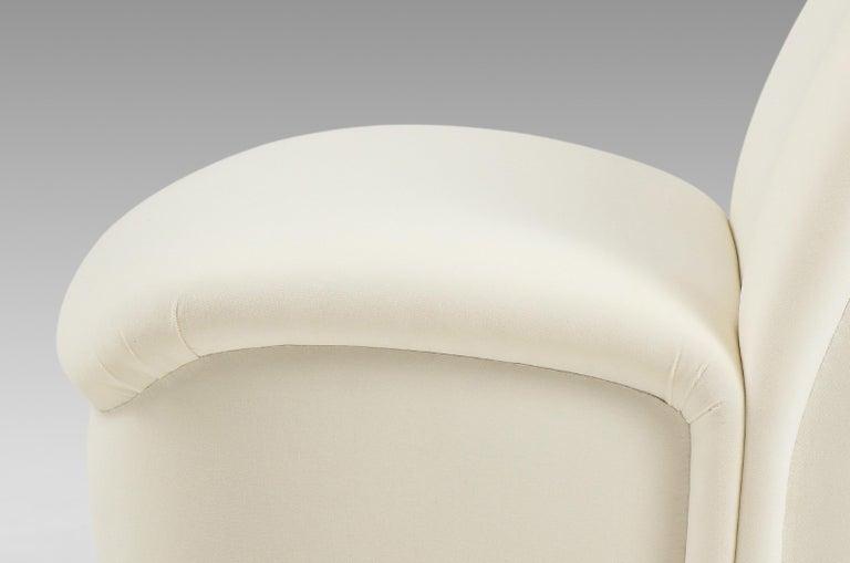 Vladimir Kagan for Directional Swivel Lounge Chairs in Ivory Velvet  For Sale 7