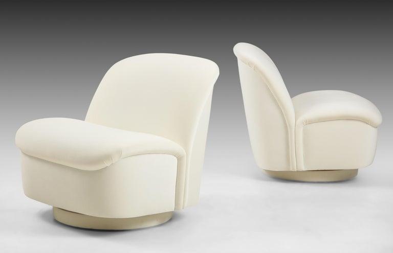 American Vladimir Kagan for Directional Swivel Lounge Chairs in Ivory Velvet  For Sale