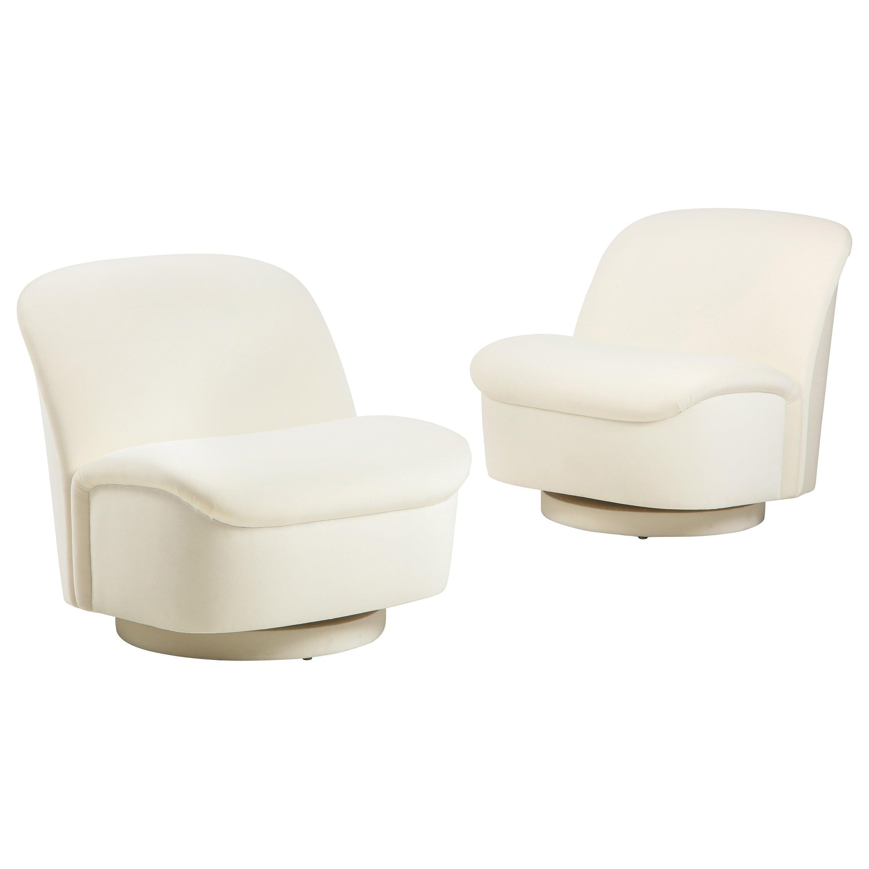 Vladimir Kagan for Directional Swivel Lounge Chairs in Ivory Velvet