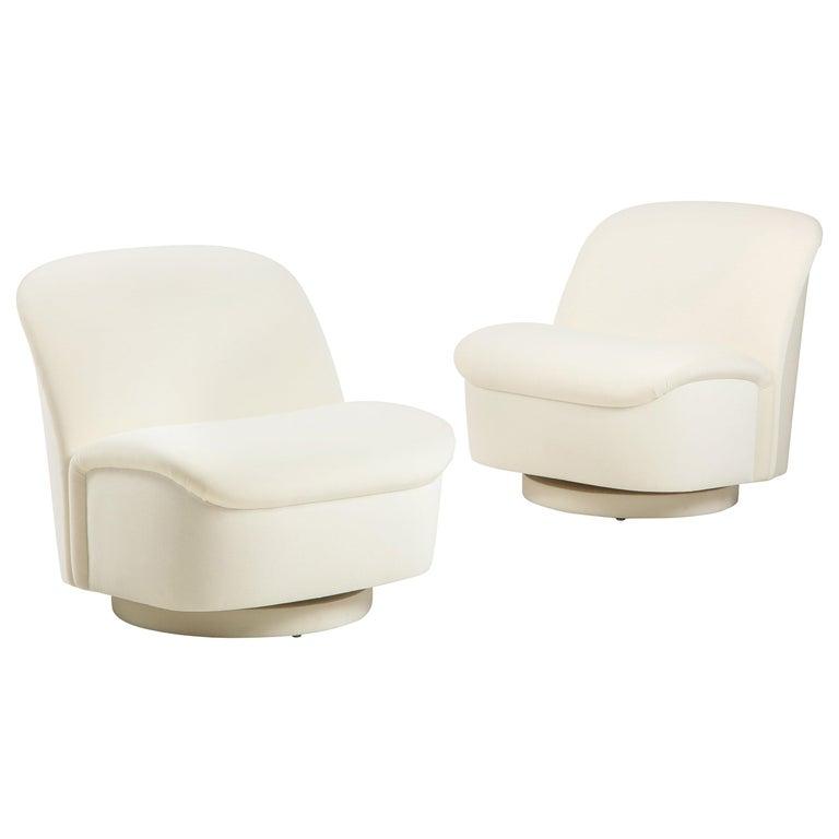 Vladimir Kagan for Directional Swivel Lounge Chairs in Ivory Velvet  For Sale