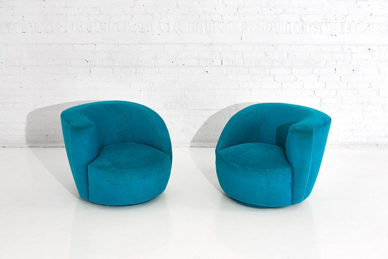"""Pair of Vladimir Kagan for Directional """"Nautilus"""" swivel chairs. Original upholstery in very good condition."""