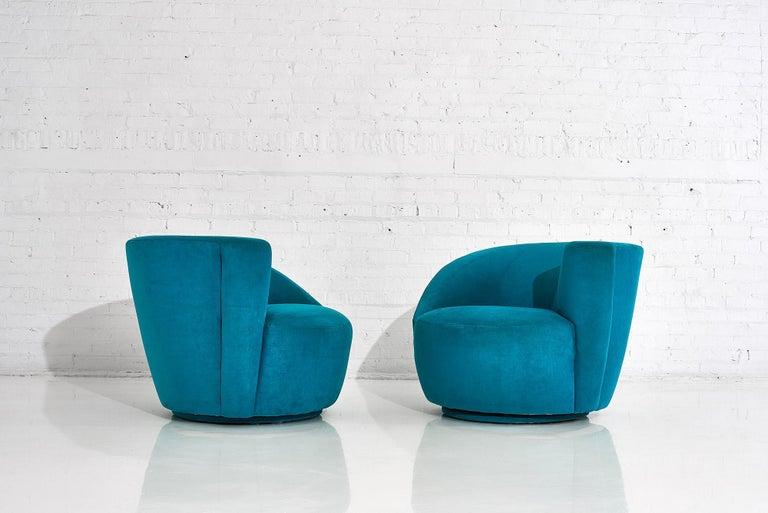 "Upholstery Vladimir Kagan for Directional ""Nautilus"" Swivel Chairs, 1980"