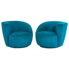 "Vladimir Kagan for Directional ""Nautilus"" Swivel Chairs, 1980"