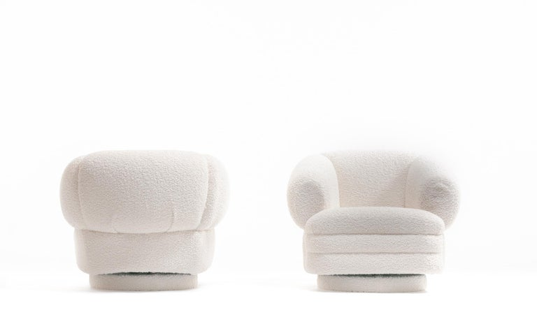 Vladimir Kagan for Directional Pair of Ivory Bouclé Swivel Chairs For Sale 4