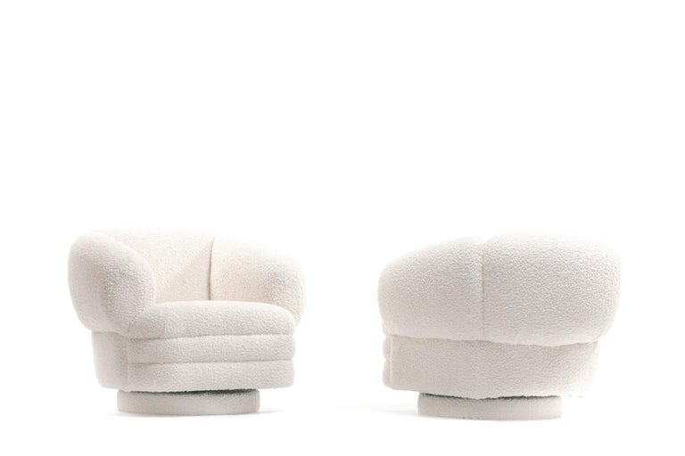 Vladimir Kagan for Directional Pair of Ivory Bouclé Swivel Chairs For Sale 5