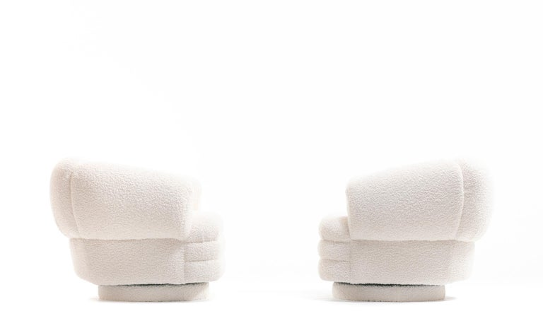 Vladimir Kagan for Directional Pair of Ivory Bouclé Swivel Chairs For Sale 6
