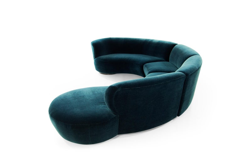 American Vladimir Kagan for Directional Sectional in Teal Mohair, circa 1970s For Sale
