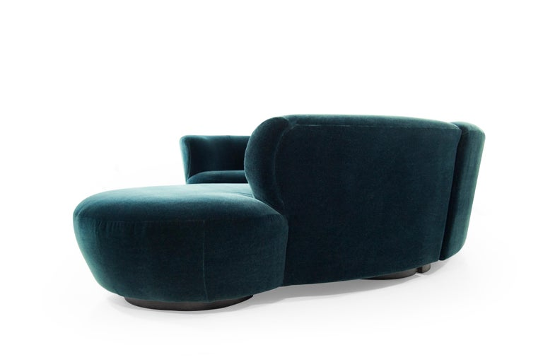 20th Century Vladimir Kagan for Directional Sectional in Teal Mohair, circa 1970s For Sale