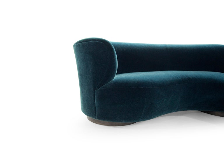 Vladimir Kagan for Directional Sectional in Teal Mohair, circa 1970s For Sale 1