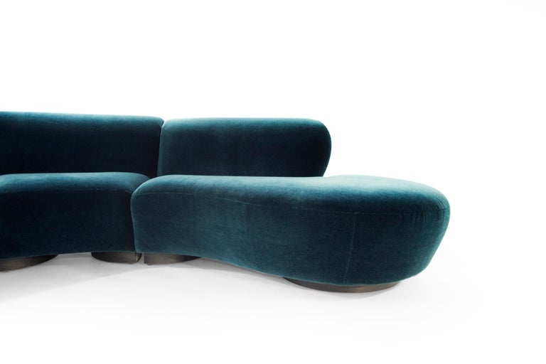 Vladimir Kagan for Directional Sectional in Teal Mohair, circa 1970s For Sale 2