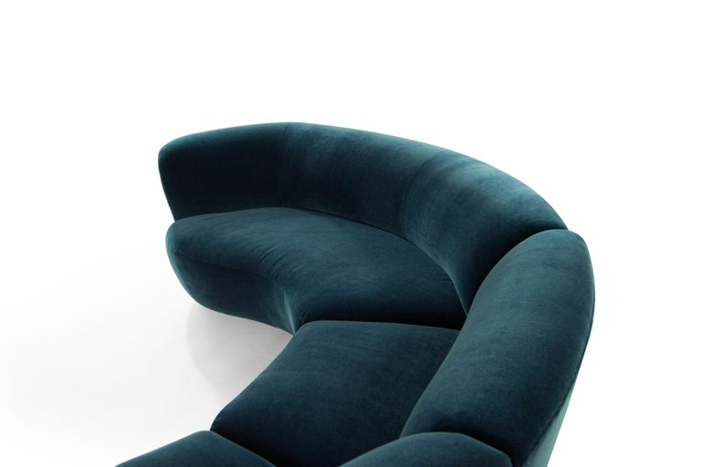 Vladimir Kagan for Directional Sectional in Teal Mohair, circa 1970s For Sale 3