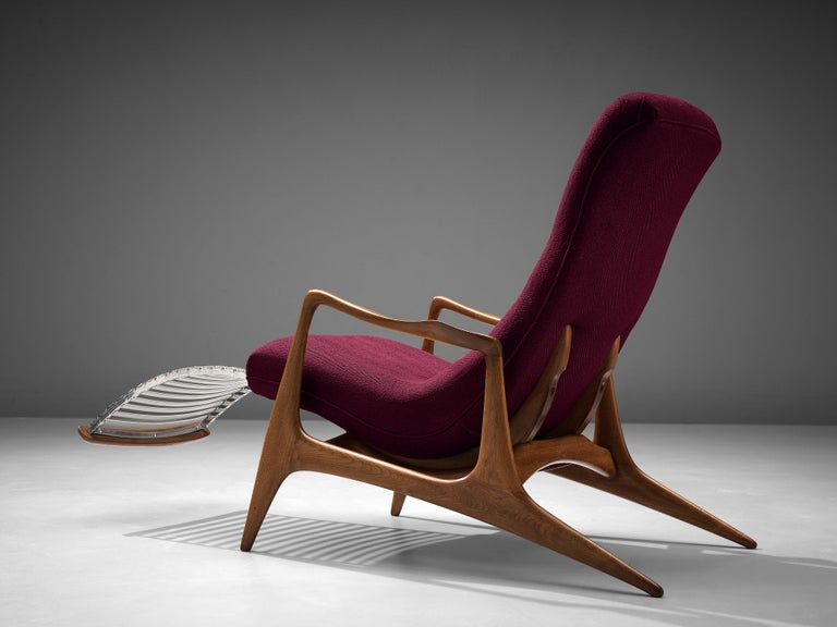 Vladimir Kagan for Dreyfuss, 'Contour' chair model 'VK 100', teak, fabric, United States, 1950s  This lounge chair by Kagan is sculptural and delicate. The frame is executed in teak, carved and detailed in an exquisite manner. The back legs are