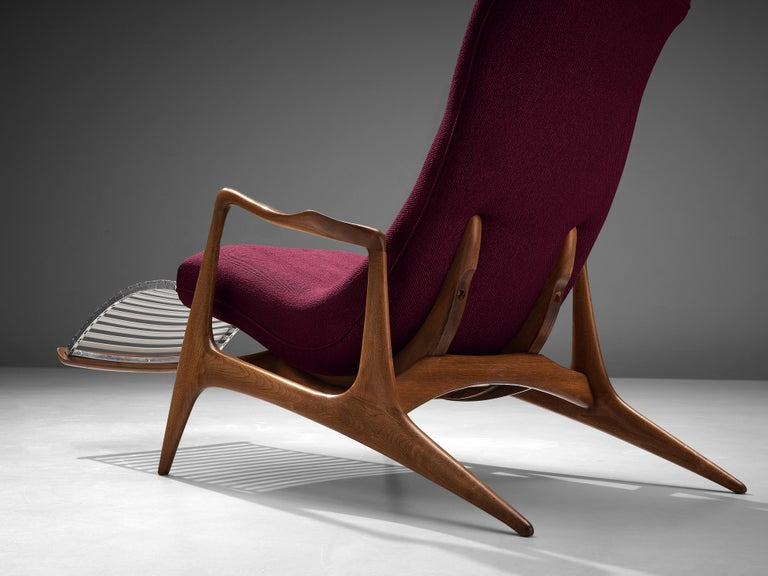 Fabric Vladimir Kagan for Dreyfuss Reclining 'Contour' Lounge Chair For Sale