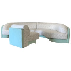 Vladimir Kagan for Preview 3-Piece Sectional Sofa, Mint and Confetti, 1990s