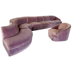 Vladimir Kagan for Weiman Four-Piece Sectional Cloud Sofa and Armchair in Velvet
