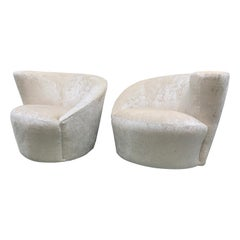 Vladimir Kagan for Weiman Pair of Newly Upholstered Nautilus Swivel Chairs