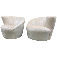 Vladimir Kagan for Weiman Pair of Newly Upholstered Nautilus Swivel Chairs