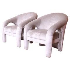 Vladimir Kagan for Weiman Sculptural Velvet Upholstered Lounge Chairs, Pair