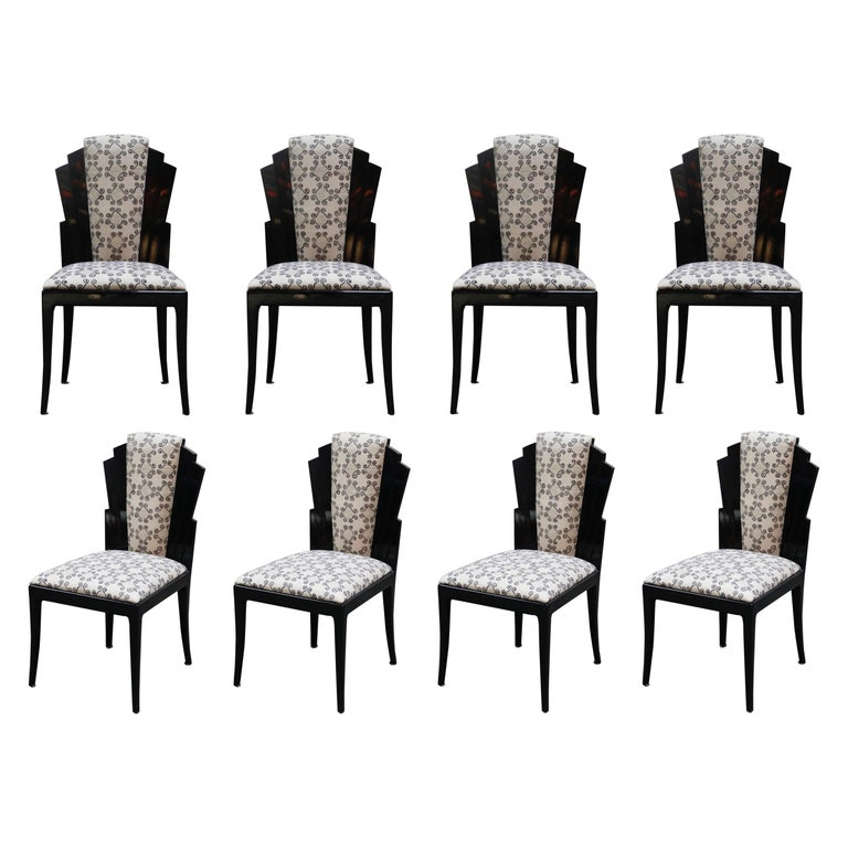 Vladimir Kagan Handmade Postmodern Dining Chairs, Set of Eight, 1980s, Signed For Sale