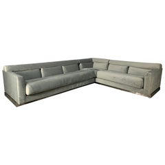 Vladimir Kagan L-Shape 5-Seat Sectional Sofa in Pale-Grey Velvet