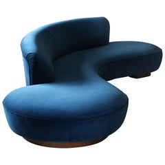 Vladimir Kagan, Large Sofa, Walnut, Blue Velvet, Vladimir Kagan Designs, Inc